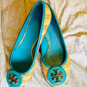 Straw Turquoise Tory Burch Flats
